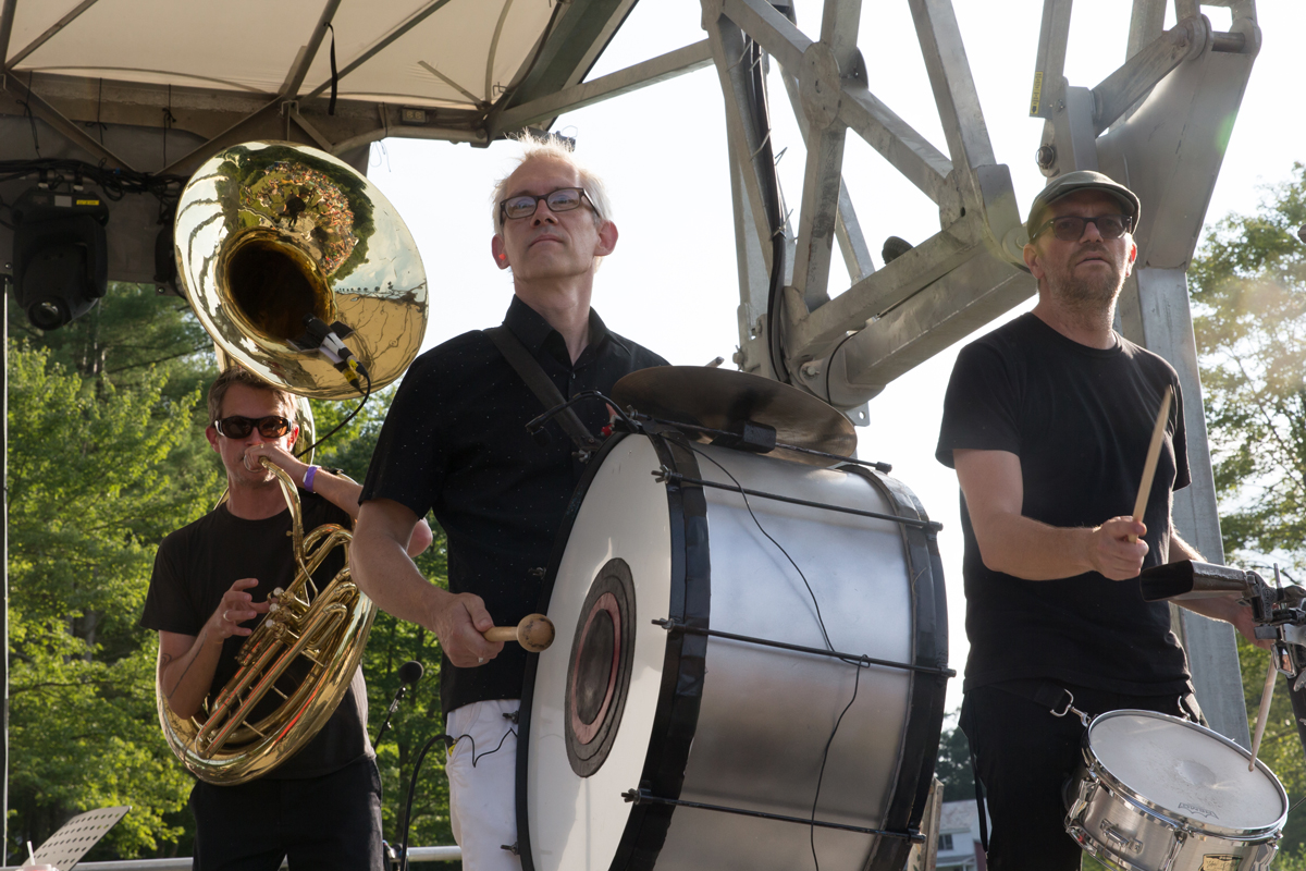 Slavic Soul Party, Chris Stromquist right, snare drum; Matt Moran, center bass drum; and Don Godwin, tuba.