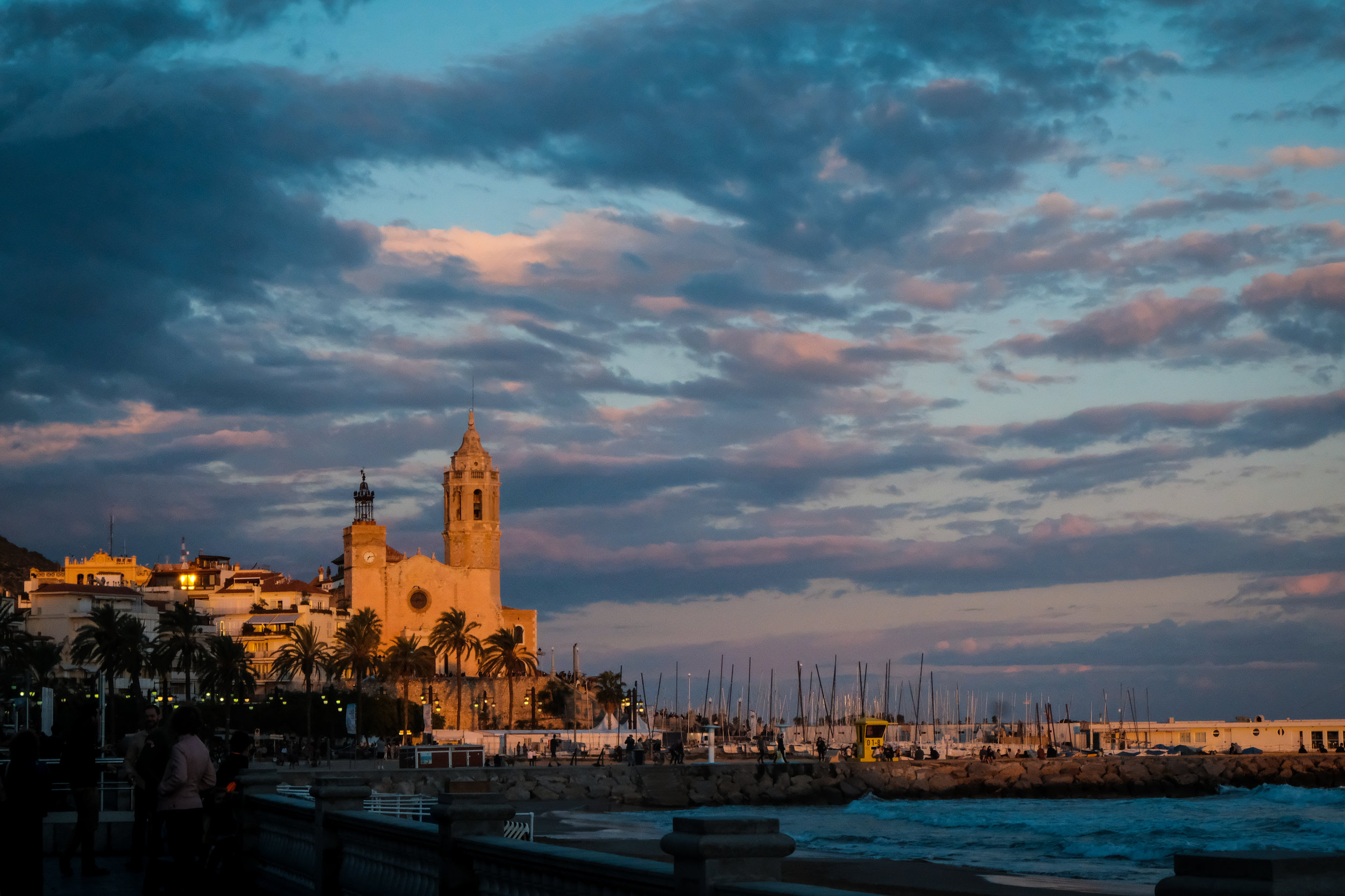 The sunset at Sitges, Catalonia.
