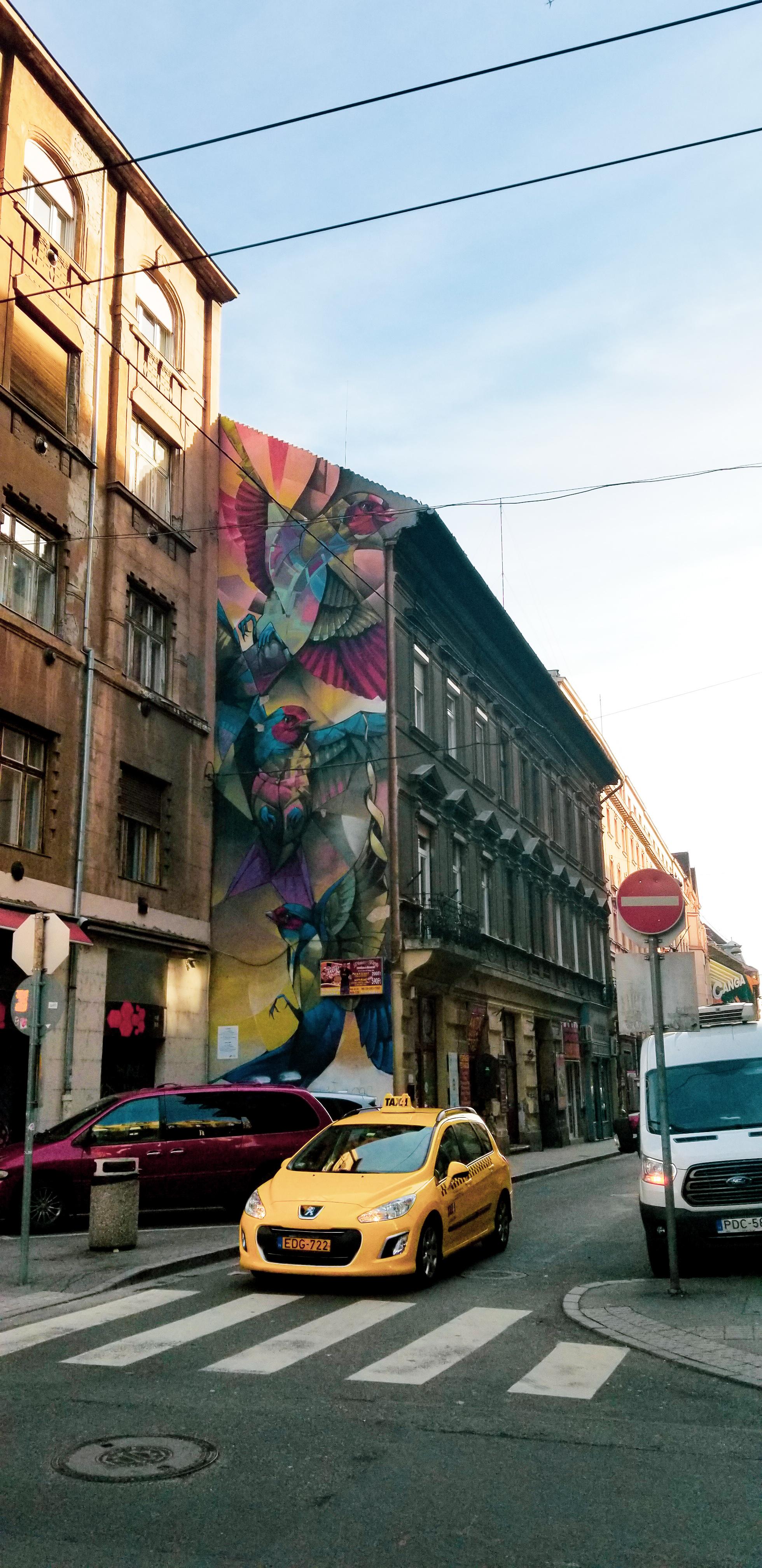A beautiful mural depicting swallows, a bird that represents tranquility. Artists :  Károly Mesterházy and Színes Város ; Akácfa Utca