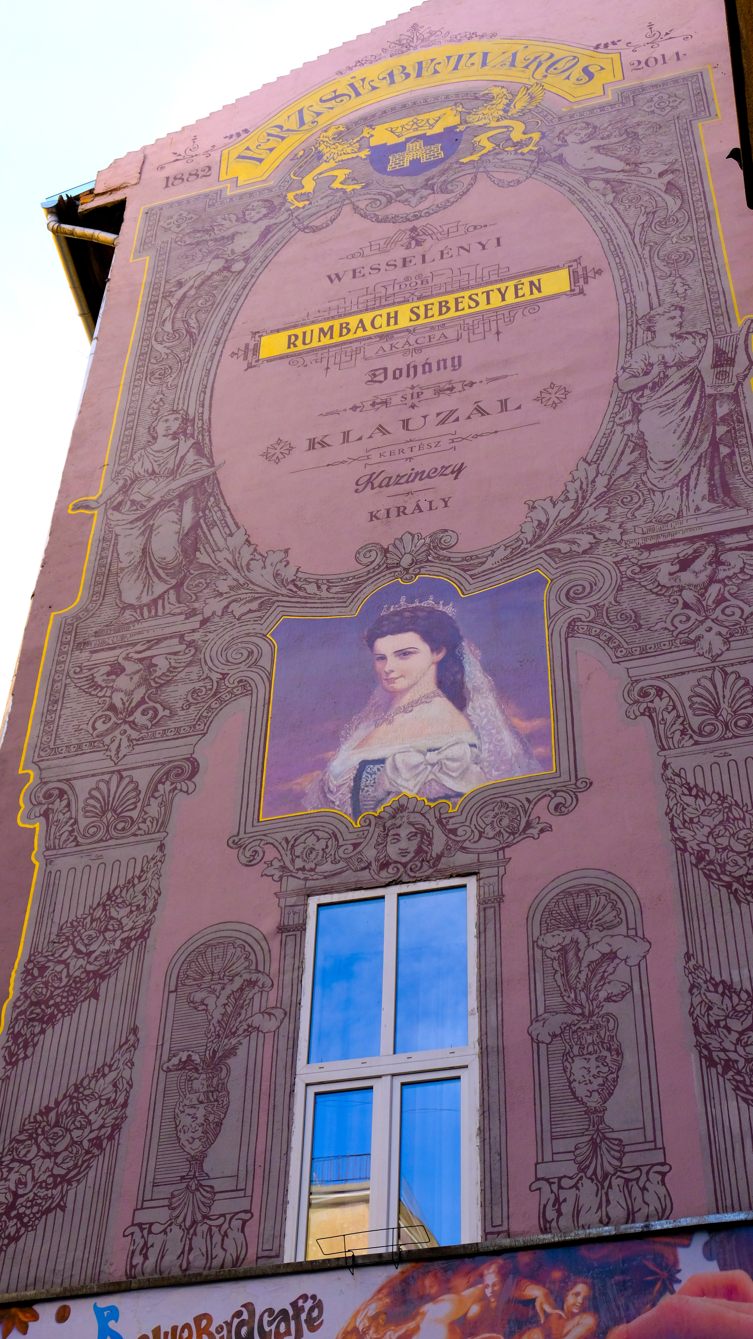 The woman in this mural on Rumbach Sebestyén Street is Elisabeth of Bavaria, the wife   of Franz Joseph I, Emperor of Austria and King of Hungary.  There is an entire section of the city named after her, Erzsebetvaros (Elizabeth Town).