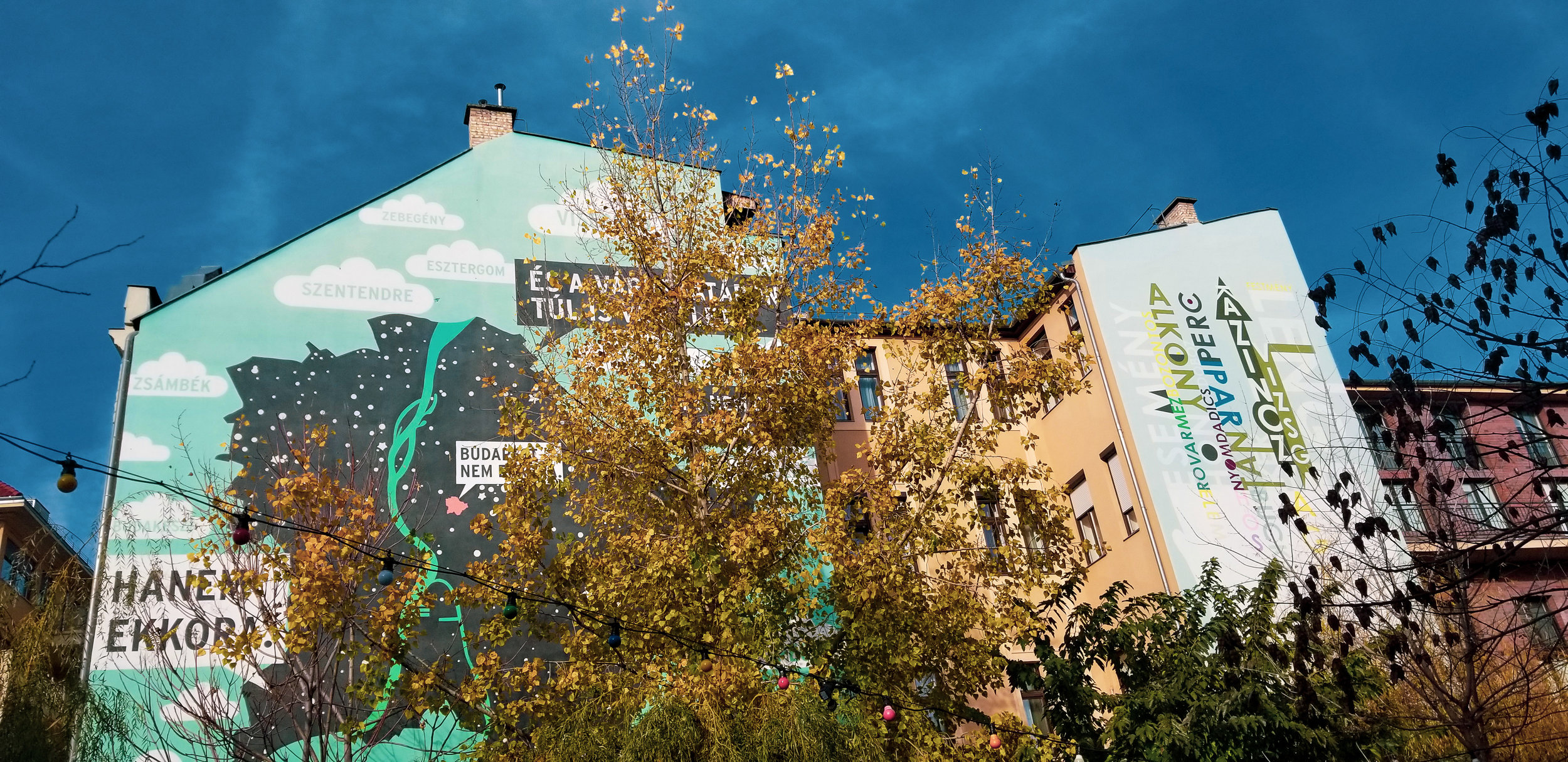 """This mural… known as """"Budapest isn't so small…"""" shows the size of the Jewish Quarter in comparison with the rest of Budapest, and is aimed to encourage people to get out and explore."""