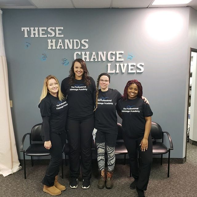 Congratulations to our first PMA graduates!! 🎓 Each one taking their final step at school, putting their handprint on the wall of graduates!! 💙  #PMAGraduation #TheseHandsChangeLives #TheProfessionalMassageAcademy #MassageTherapy