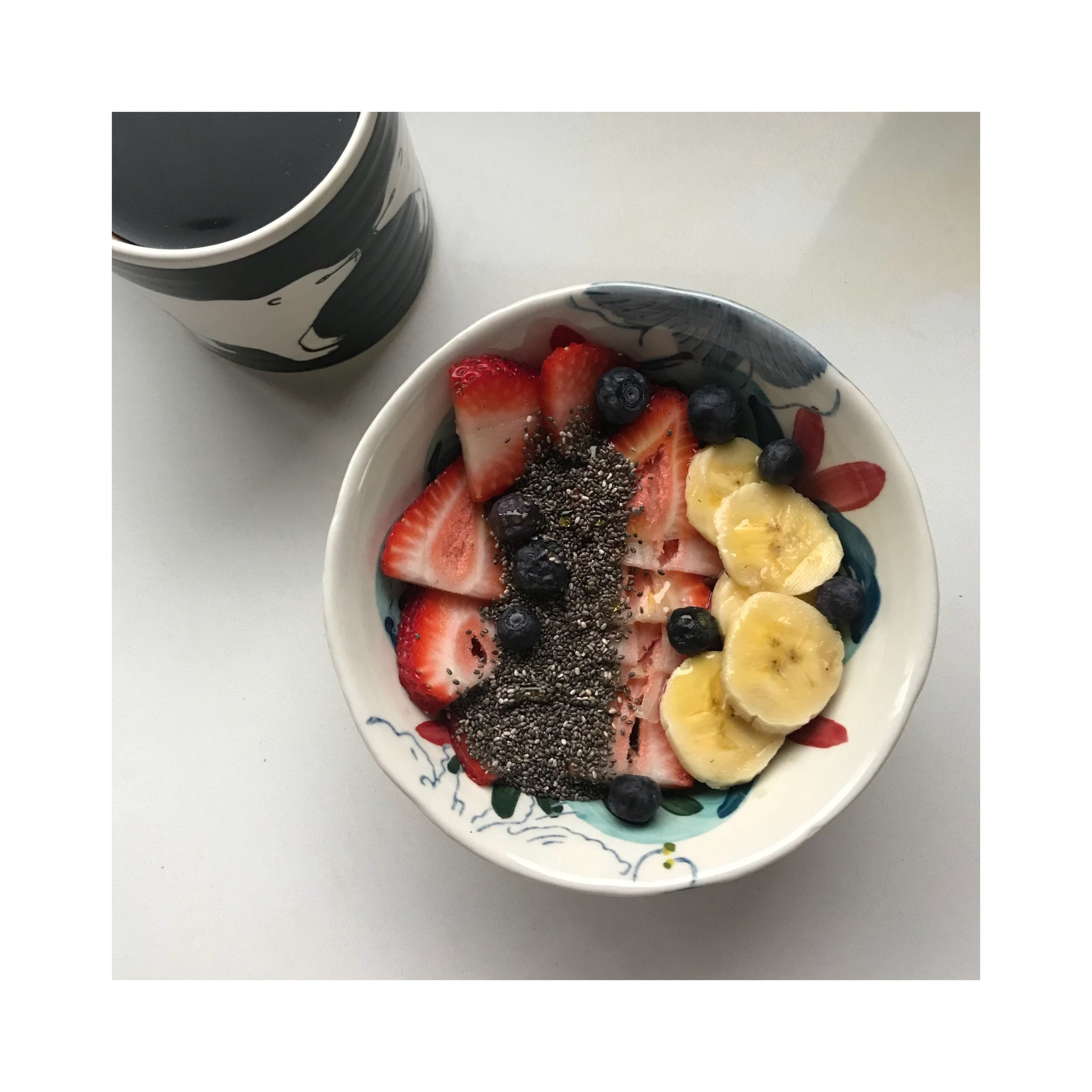 GO-TO Breakfast - Precook  1-cup Quinoa the night before: Combine ingredients below then microwave: Quinoia: 1/2 CupCoconut Milk: 1/3 CupAlmond Butter: 1 to 2 Tb Add: Chia Seeds BananaStrawberriesBlueberries(and drizzle some HONEY!)