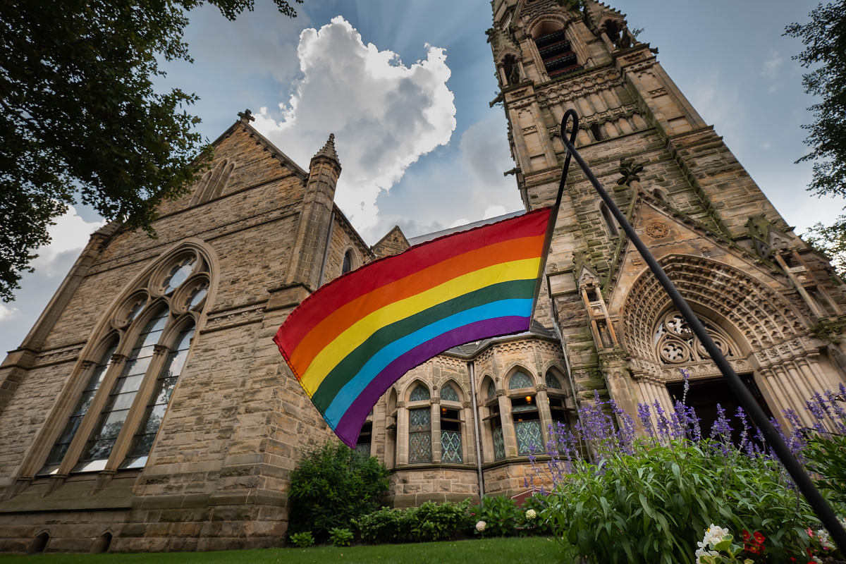 A rainbow flag outside of Calvary United Methodist Church on Pittsburgh's Northside.