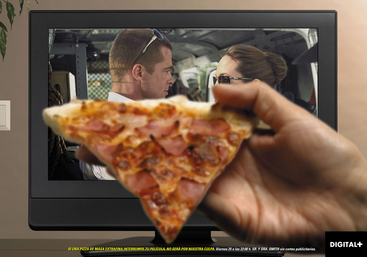 IF AN EXTRA THIN-CRUST PIZZA INTERRUPTS YOUR MOVIE, IT WON'T BE OUR FAULT.   Friday 25th at 10PM, Mr. & Mss. SMITH without commercial breaks.