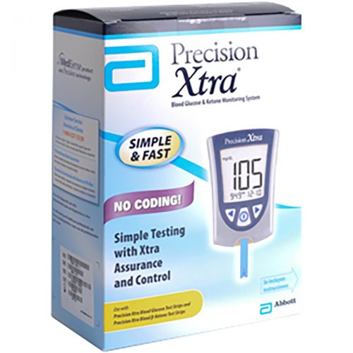 Picture of the box of Abbott's Precision Xtra blood ketone monitor