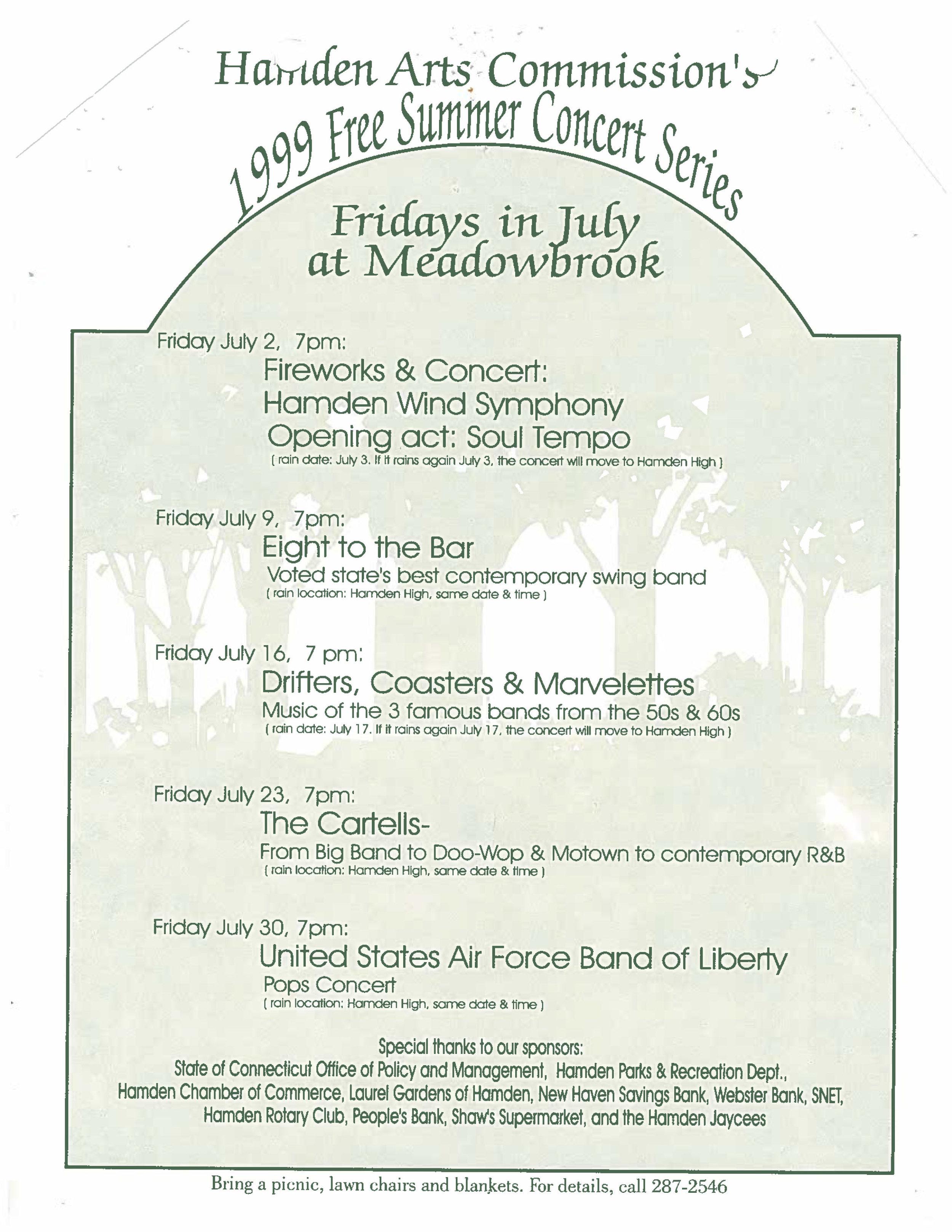 hamden summer concerts 2019 — Hamden Arts Commission
