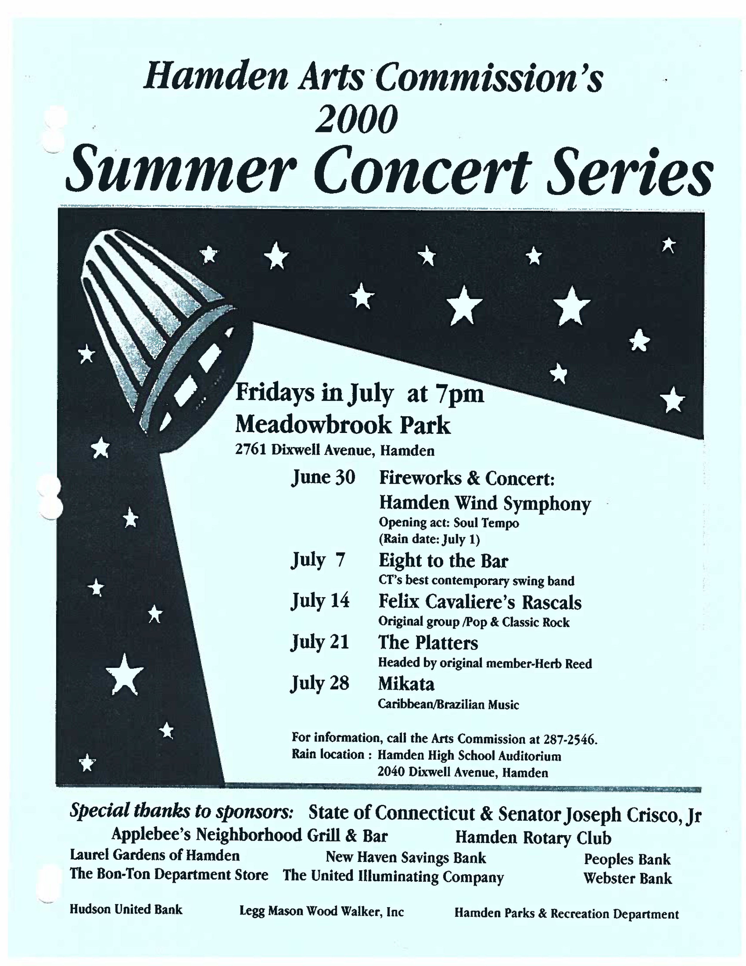 Hamden Summer Concerts 2020.Hamden Summer Concerts 2019 Hamden Arts Commission