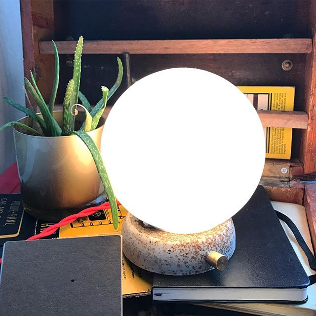 cozy morning with this little lamp.  #light #lamp #desk #design #antique #salvage #glow #globe #notebook