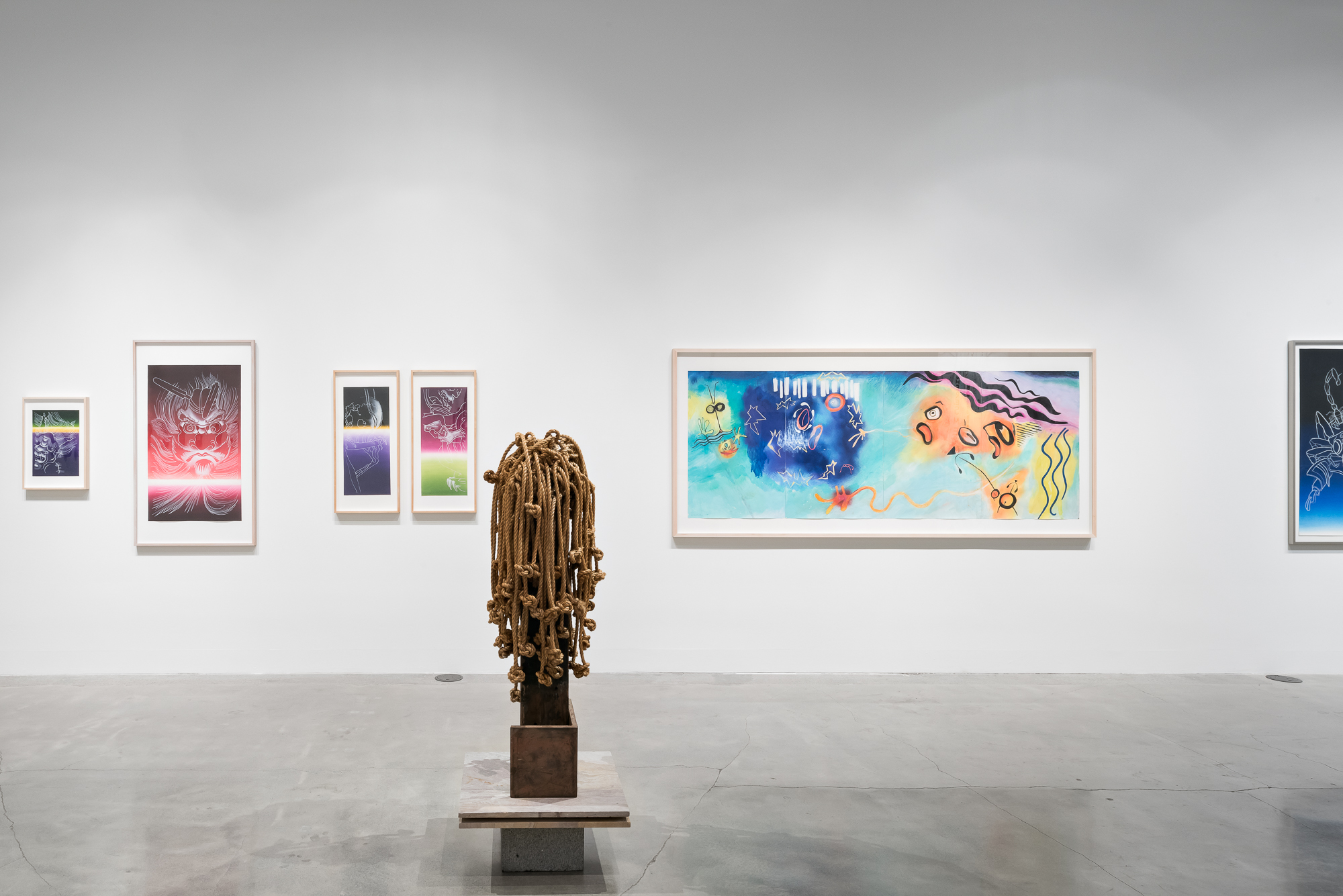 Image: Installation view of  With(out) With(in) the very moment  at San Francisco Arts Commission Gallery.  He Cries, She Cries: Homage to our Sisters  by Ed Aulerich-Sugai is second from the right. Photo by Phillip Maisel.