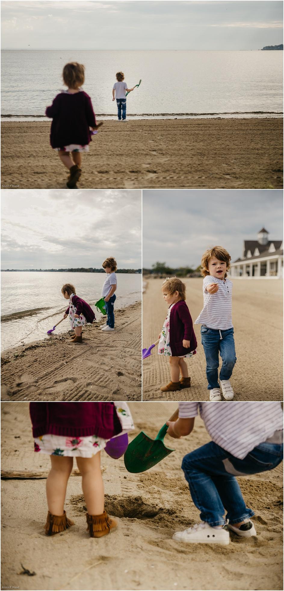 Beach family photos at Weed Beach in Darien