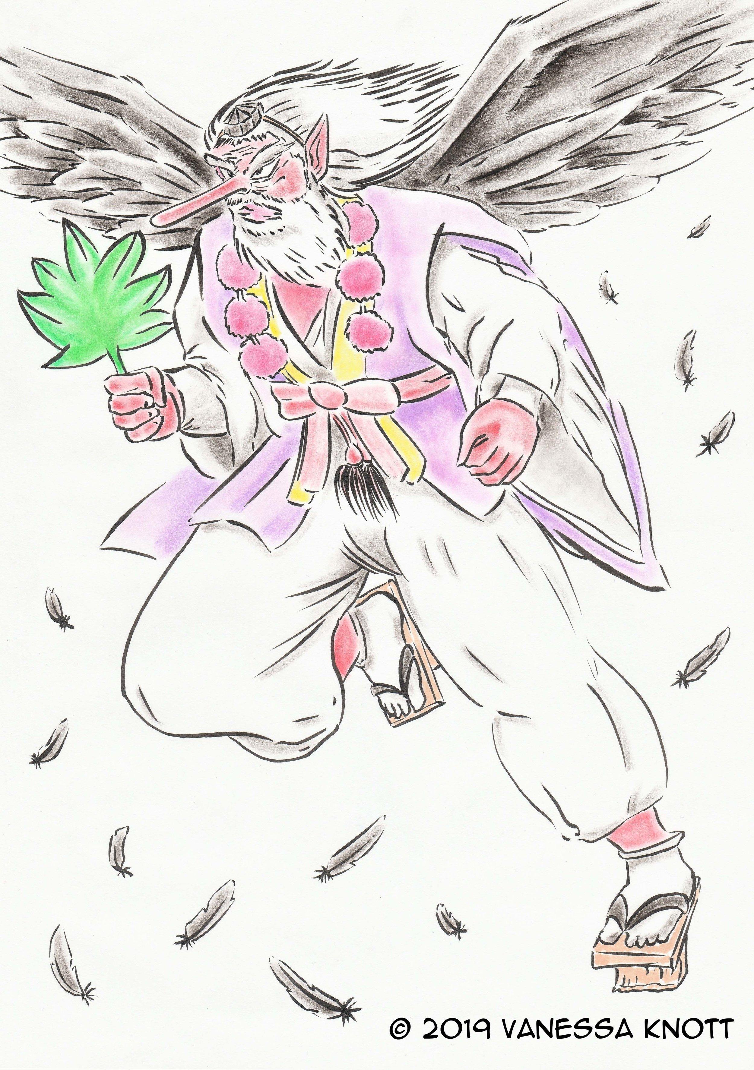 Hanataka Tengu (Yōkai Art Challenge) 2019, Ink on paper, 21.0 x 29.7cm