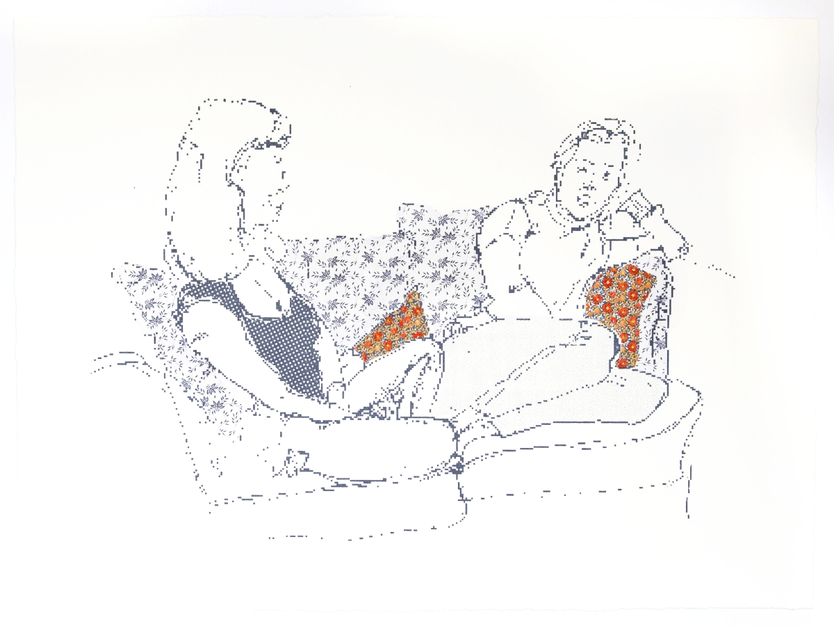 Personal Conversation    Silkscreen printer and watercolor on Somerset, 2015