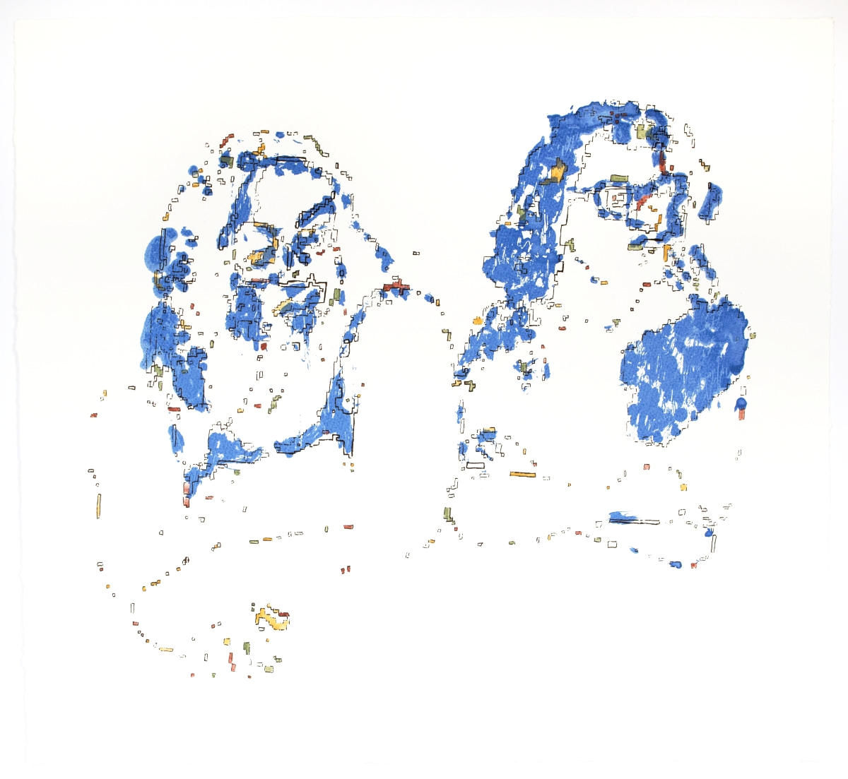 Mother-Daughter on Subway    Silkscreen print and watercolor on Somerset, 2015