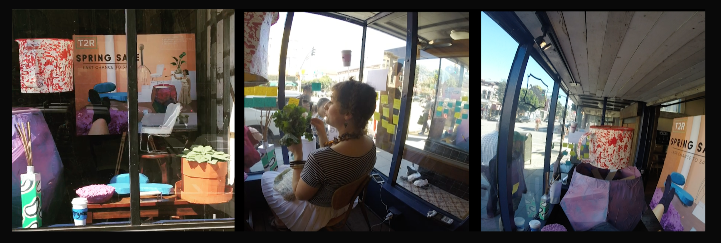 T2R Spring Sale    Video stills of storefront window installation, San Francisco, CA, 2017