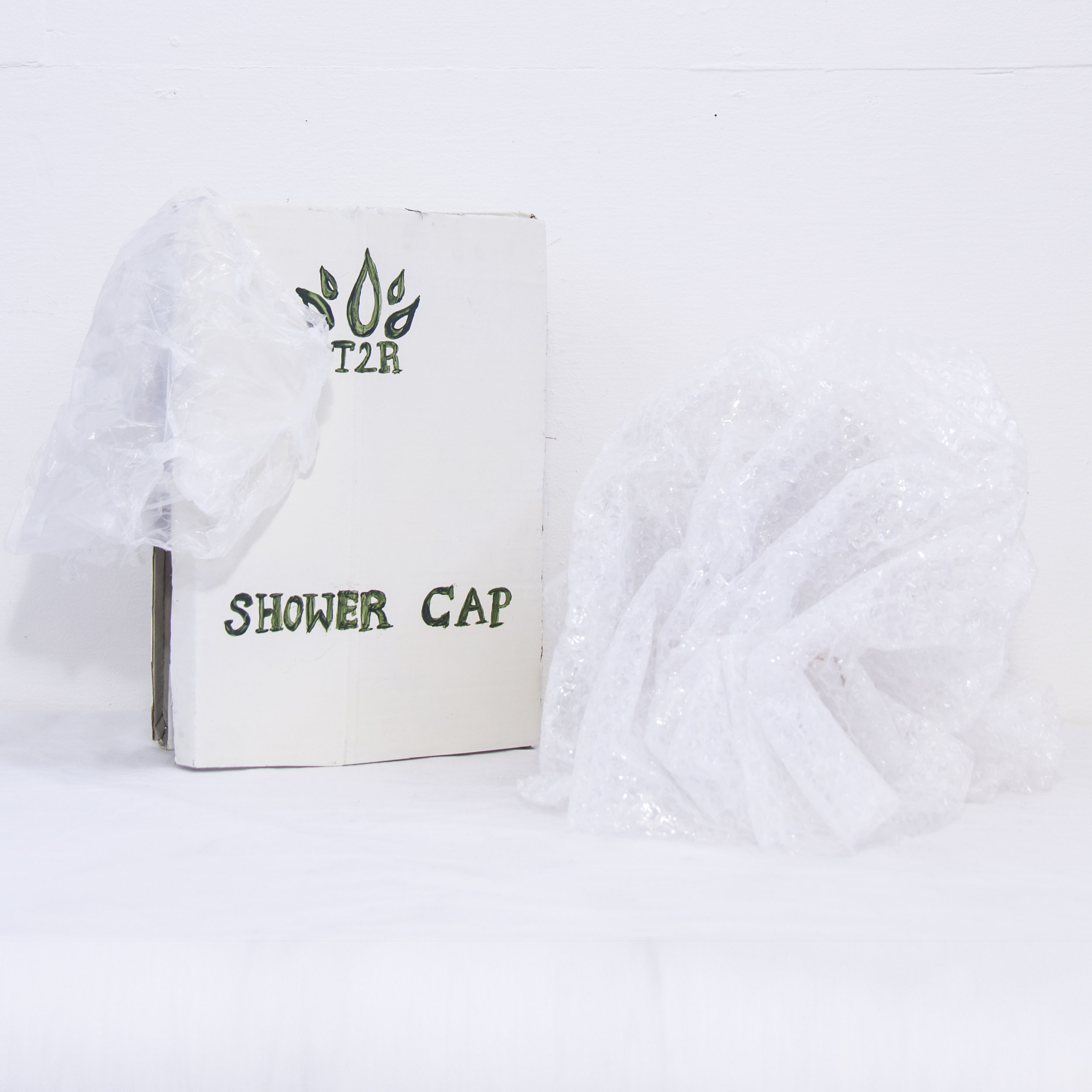 T2R Luxe at The San Francisco Inn, Shower Cap    Paper-mache sculpture, cardboard, acrylic, poly bag, bubble wrap 2017