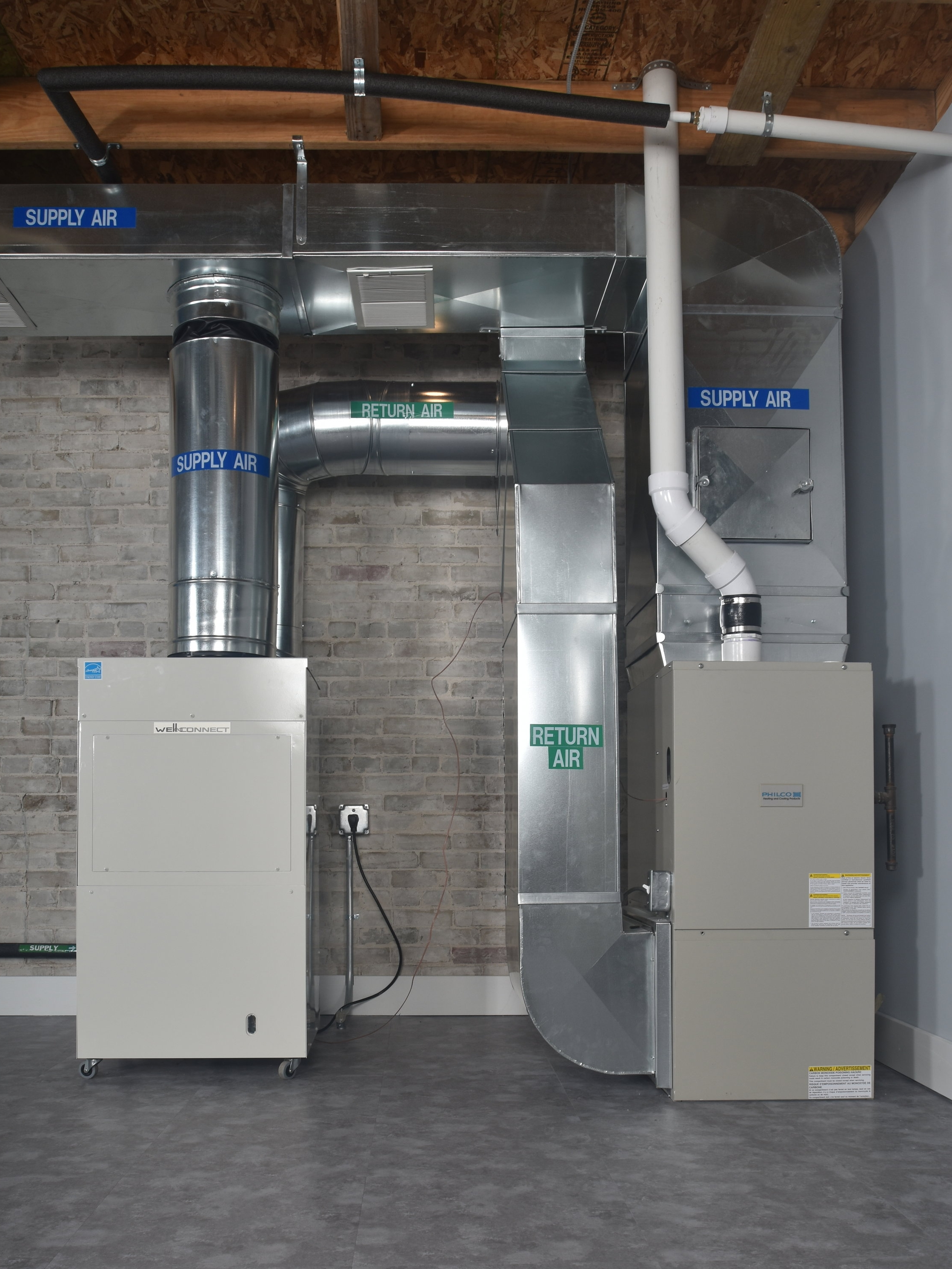 Integrated System - The most common installation option, wherein the Well-Connect is added to an existing forced air system.