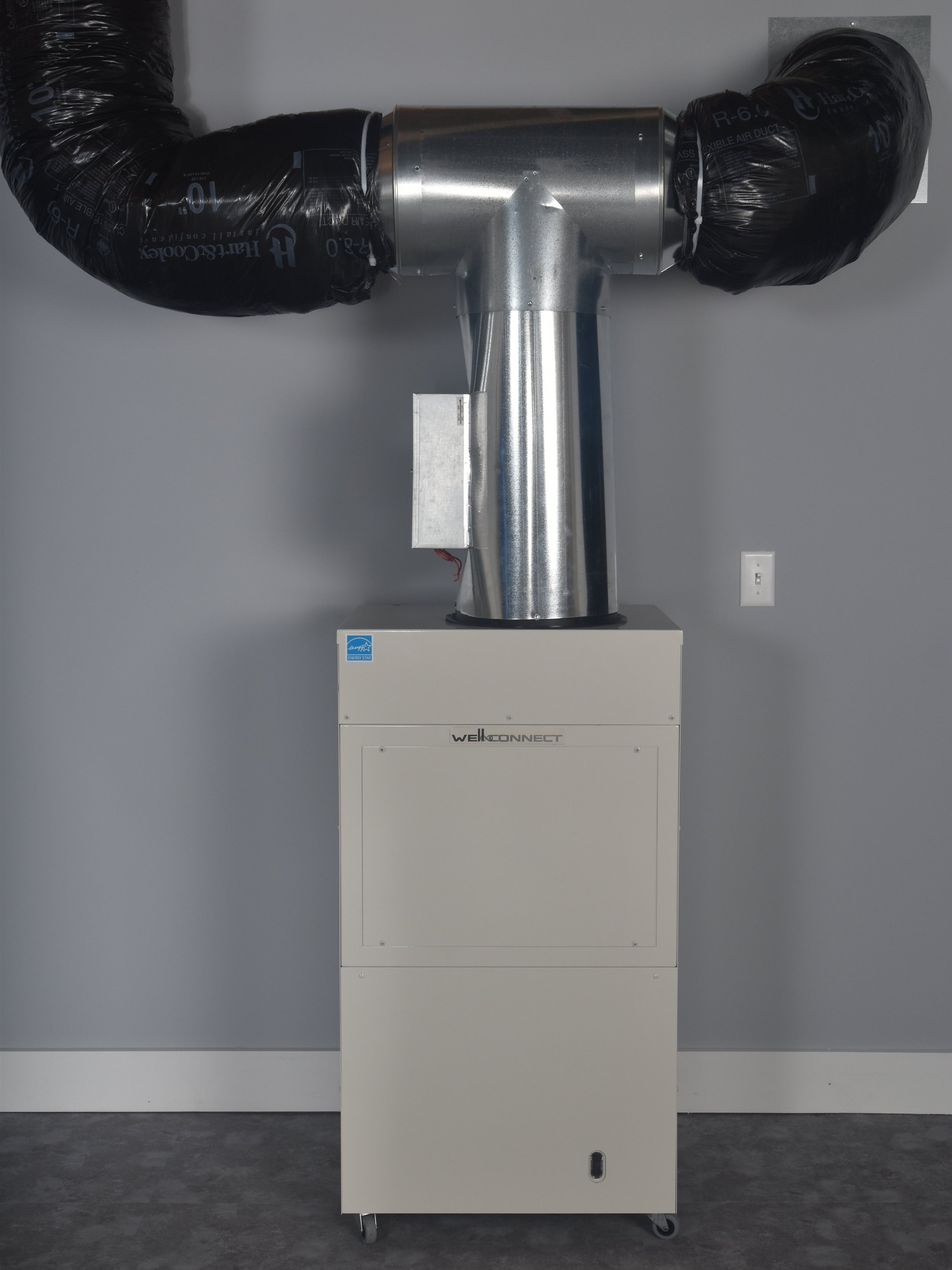 Self Ducted - If an existing duct system is not available, one may be created just for the Well-Connect. A good option for homes with baseboard or in-floor heat.