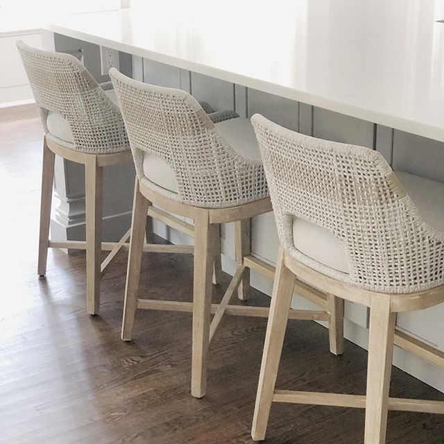 These stools make me so happy! They are as sturdy as they are beautiful. #kitchen #kitchenisland #kitchenstools #counterstools #kitchendesign #interiordesign