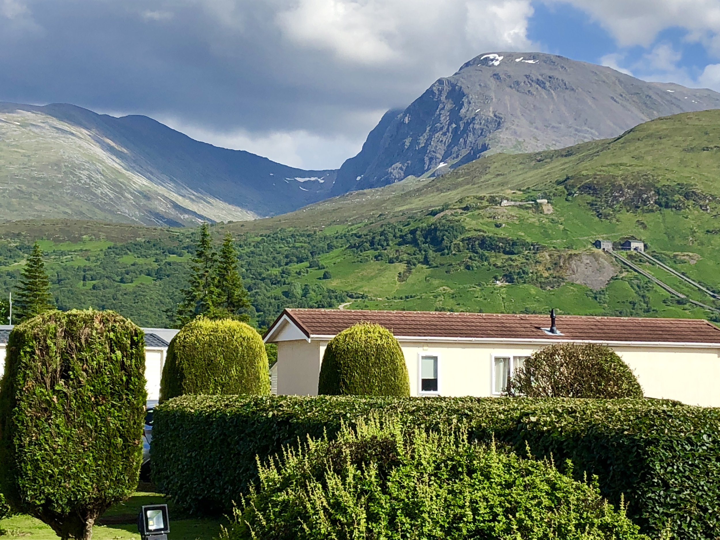 Our very first view of 'The Ben' when we arrived at our stay in Lochey Park...