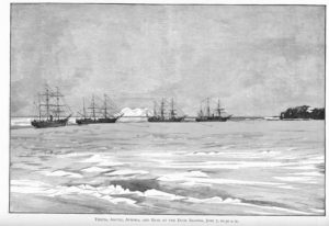 The  Thetis  and other ships, at sail during the recovery mission.