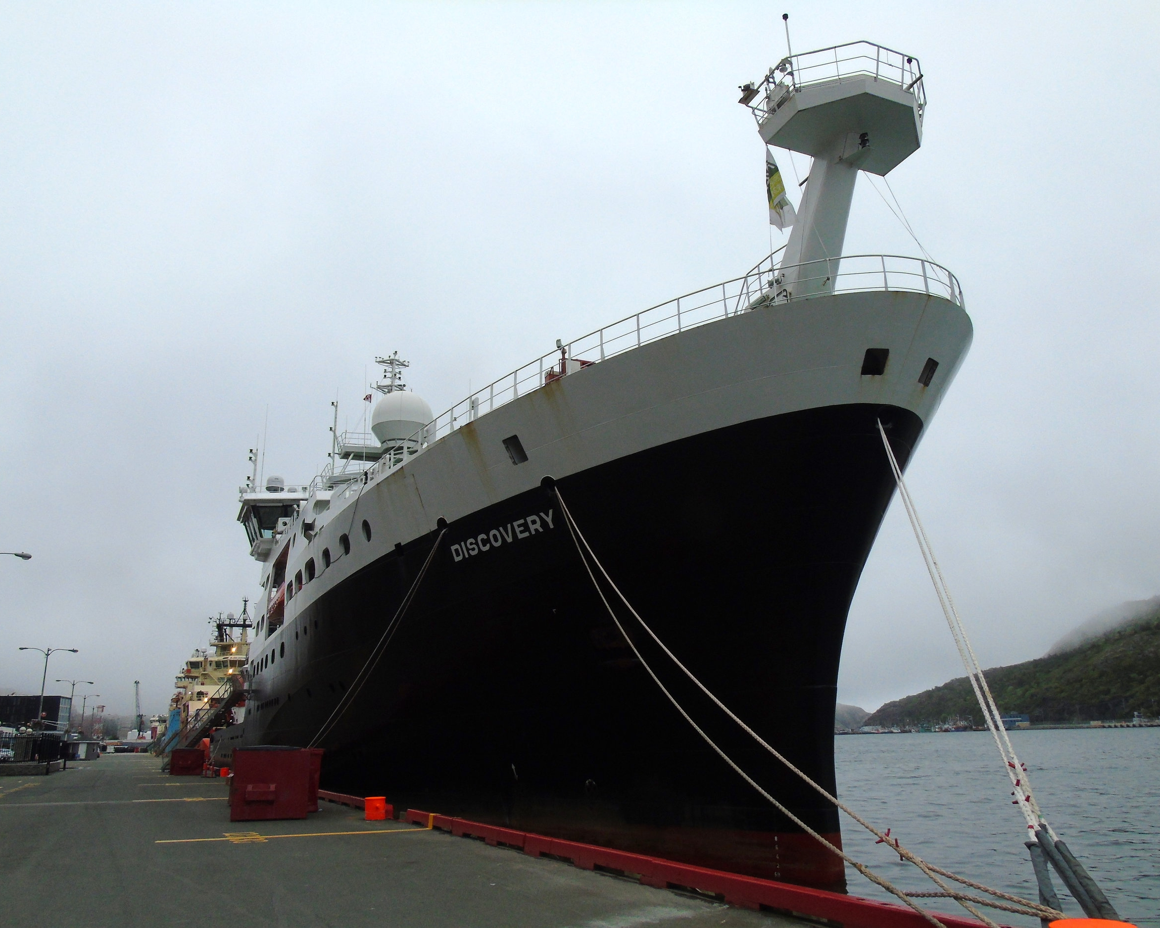 RRS  Discovery  moored in St. John's.