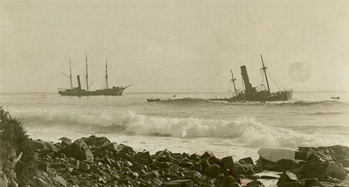 Salvaging the wreck of SS  Florizel.  Image A 68-105 from The Rooms Provincial Archives.