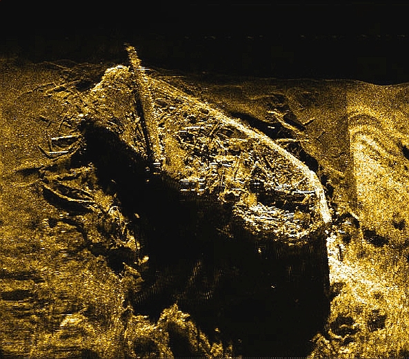 Investigator  on the floor of Mercy Bay, as seen by Sonar. Image from Parks Canada.