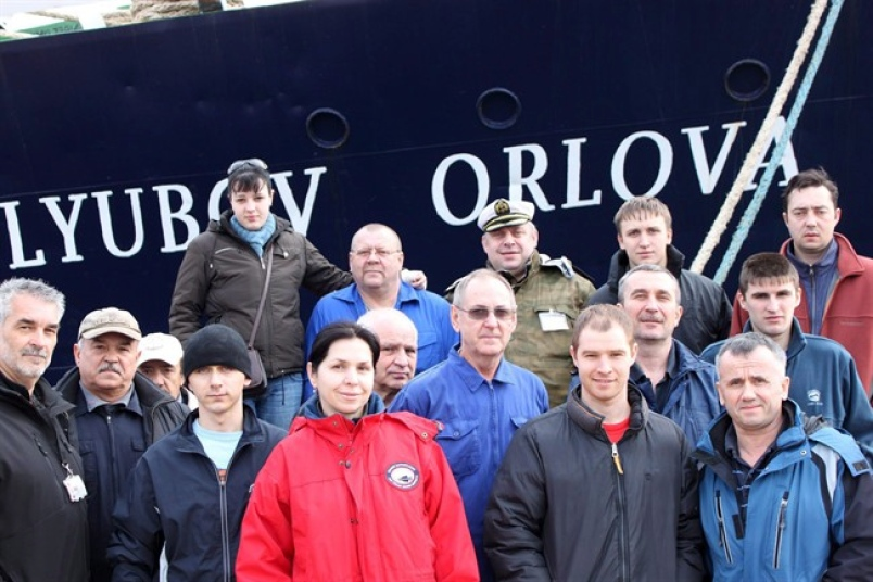 Crew of the  Lyubov Orlova . Image from The Telegram.