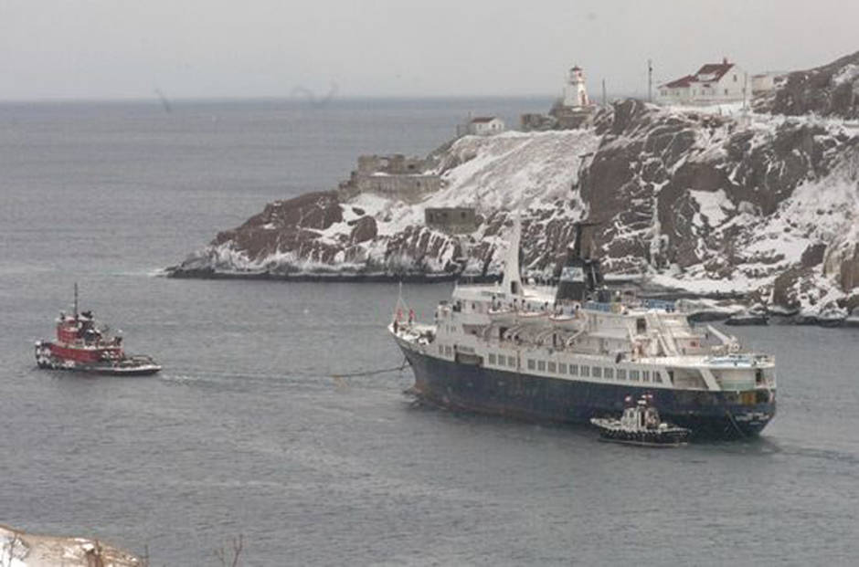 Under tow and underway. Why they were allowed to leave, I will never know. Image from The Telegram.
