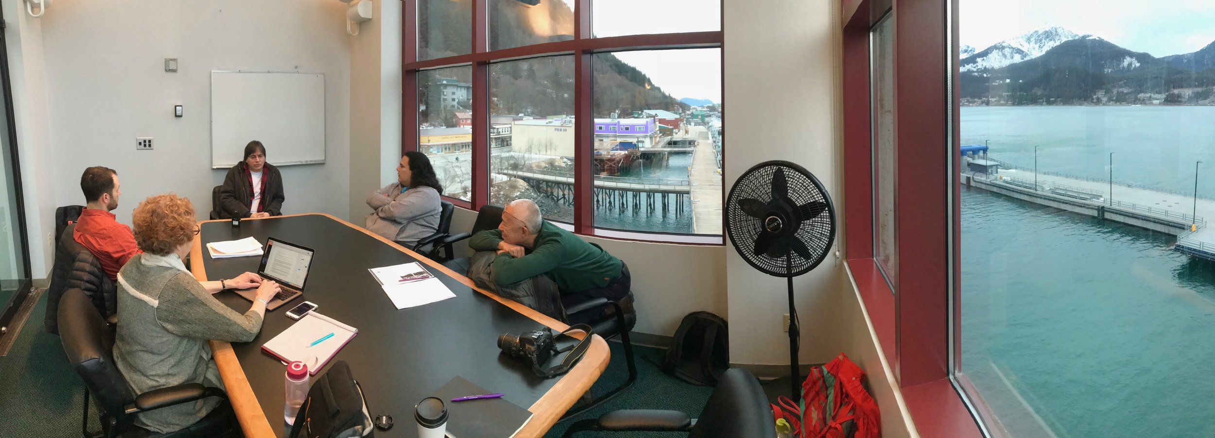 Allan Peters and Ping Chong + Co. interview team, Juneau Downtown Library, February 2018
