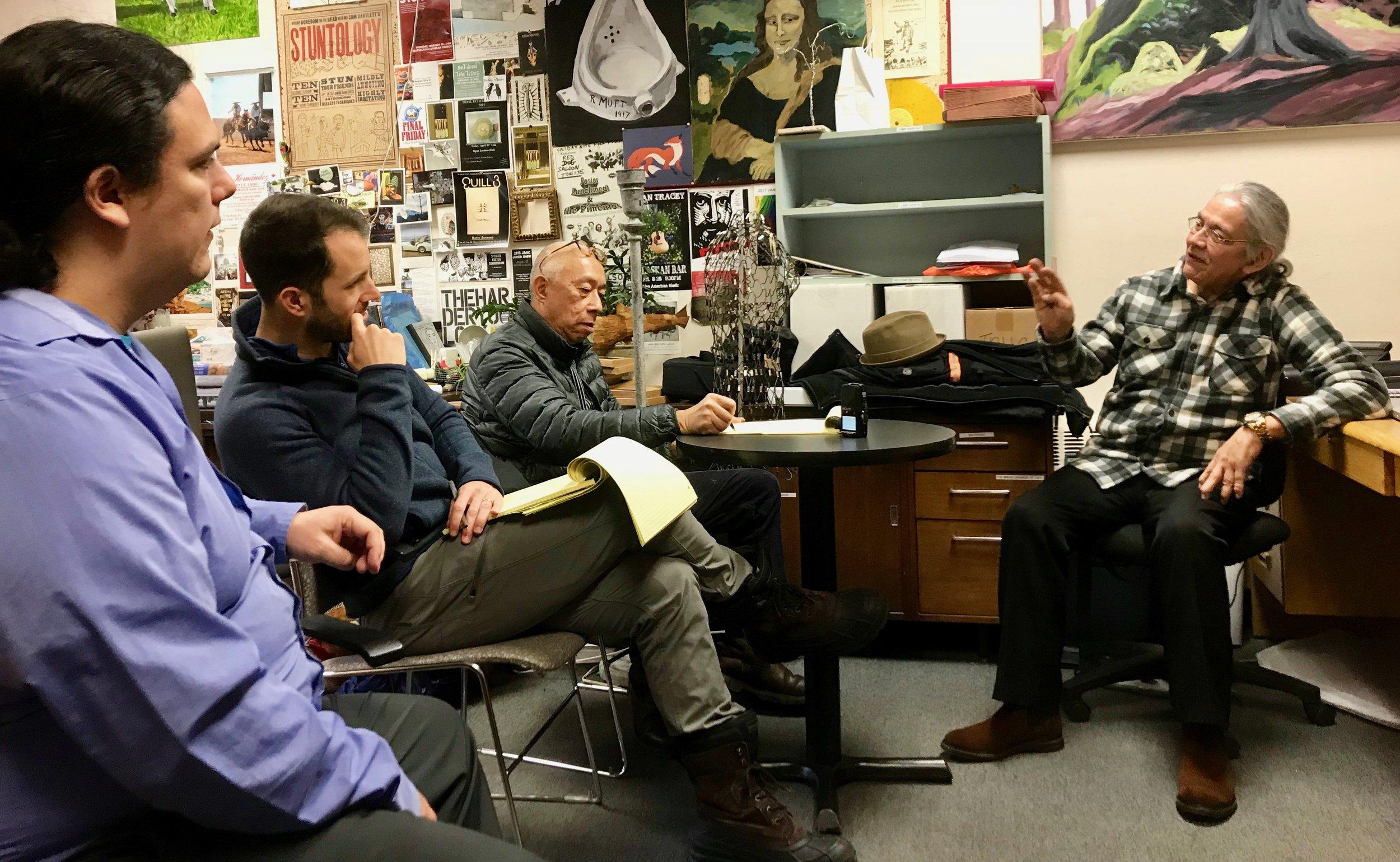 Frank Kaash Katasse, Ryan Conarro, Ping Chong, and Walter Soboleff Jr. at the Juneau Arts & Culture Center, February 2018