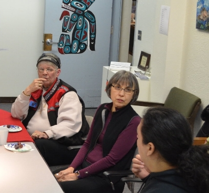 From Left: Fran Houston & Lillian Petershoare with Frank Kaash Katasse at the JACC, February 2018