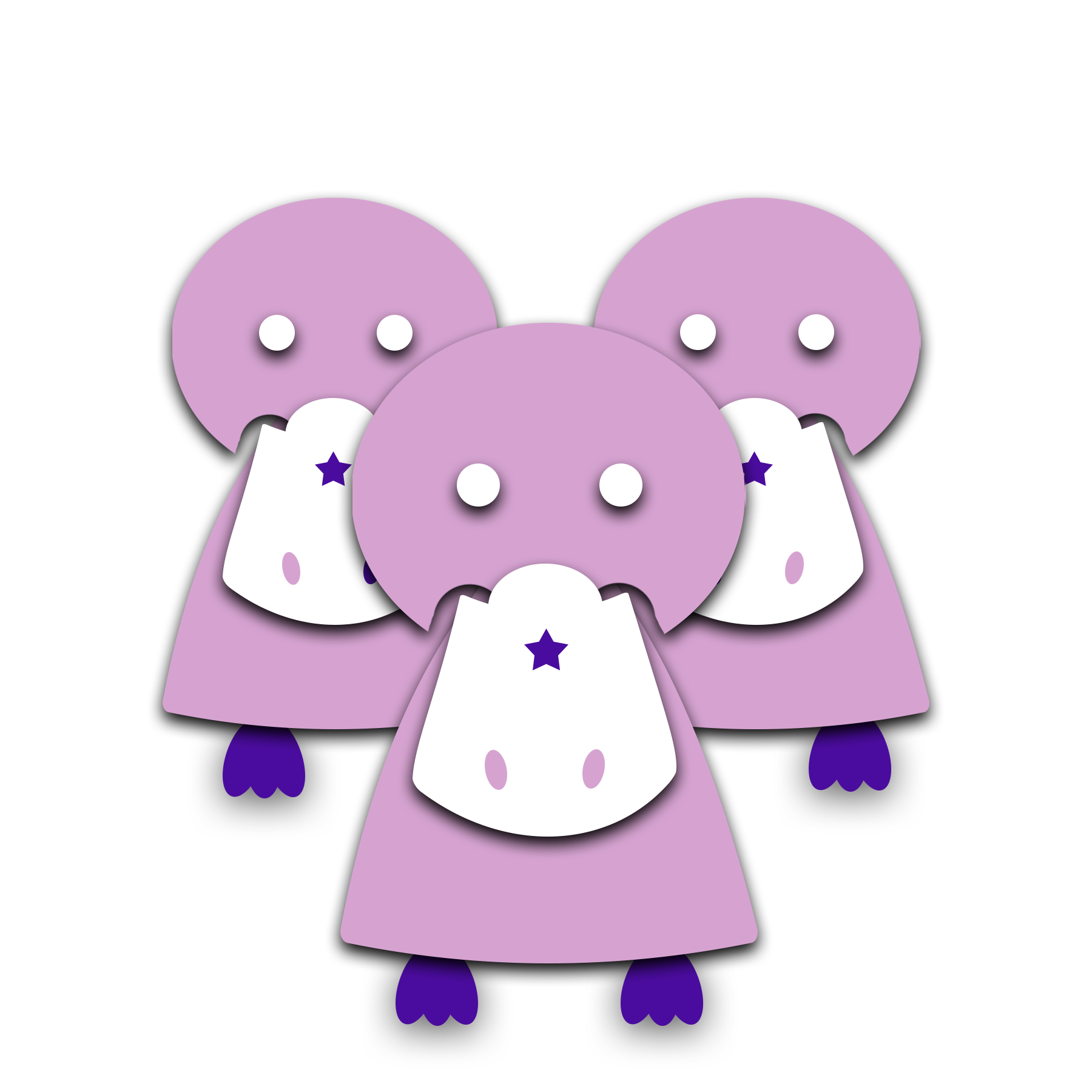 [Image] A group of light purple, animated platypus with dark purple feet standing in a group. Madeline Stein offers group counseling for gifted children and gifted teens in Denver, CO.