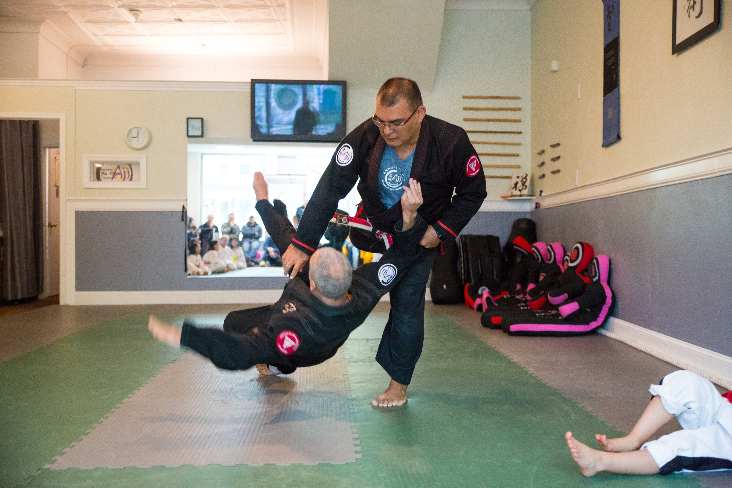 For Adults - American Jiu Jitsu offers scenario-based self-defense. Our practical approach to protecting one's self does not rely on size, strength, speed, or flexibility to be effective. Instead, Jiu Jitsu focuses on physics and anatomical knowledge to regain control of any situation.