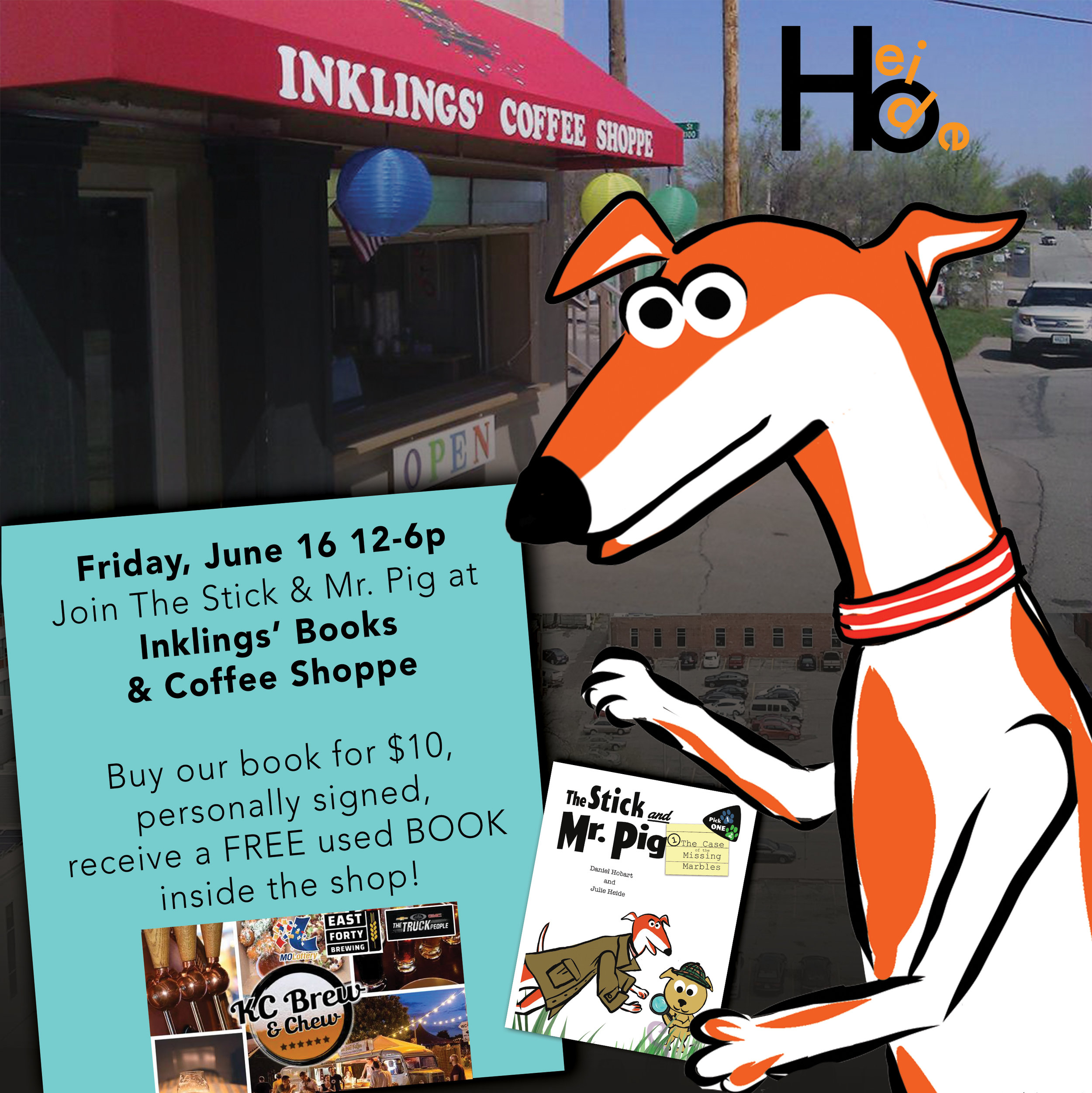 Join us at Inklings' Books & Coffee Shop in downtown Blue Springs! - In conjunction with the Kid Zone and KC Brew & Chew, we will be selling and signing The Stick & Mr. Pig.Stop by Saturday, June 16 12-6pm to check out Inklings' bookstore and coffee shoppe!Buy our book, get a FREE USED BOOK from the bookstore!