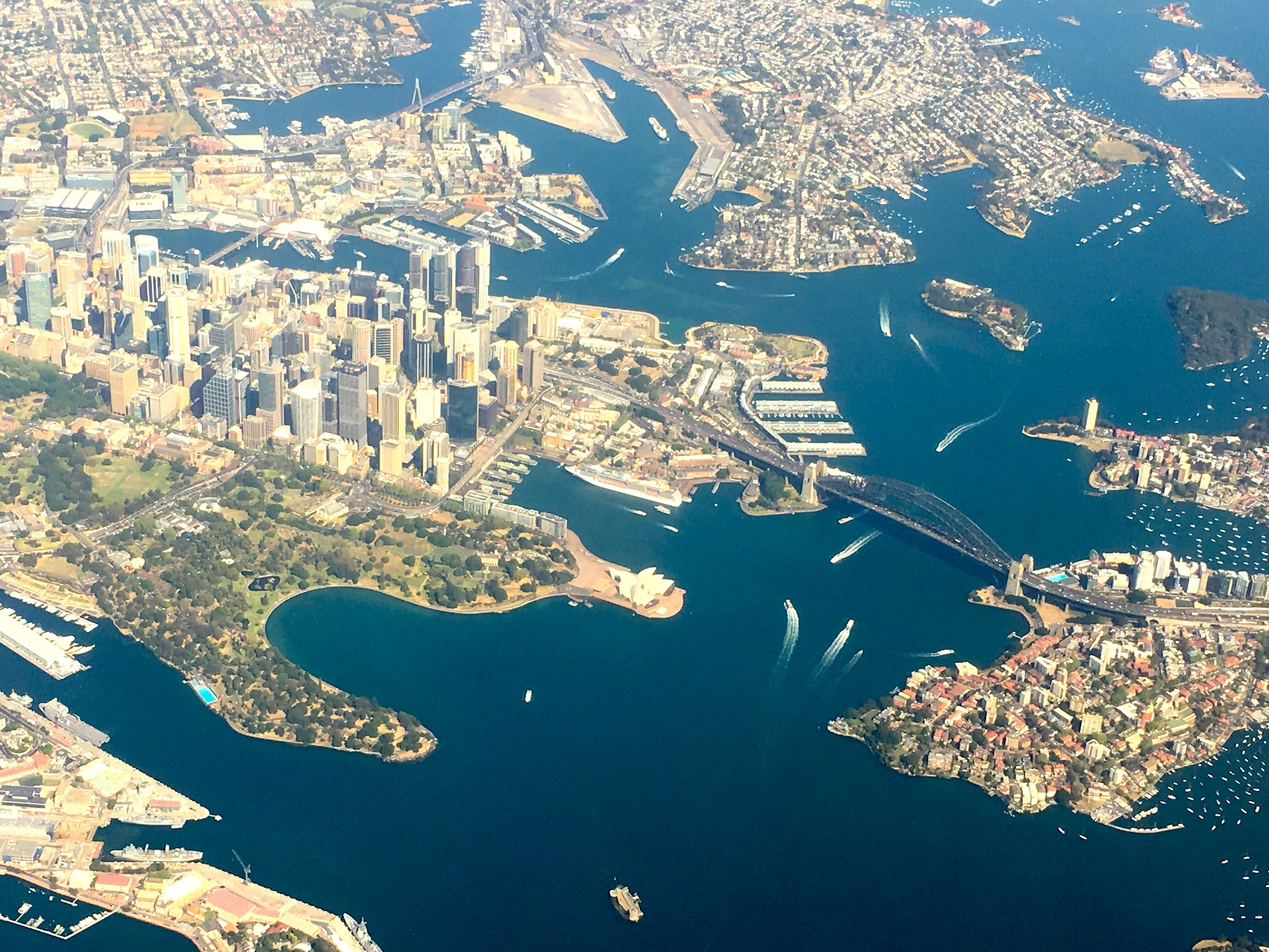 Downtown Sydney Australia from the air. Our course location is UTS Sydney.