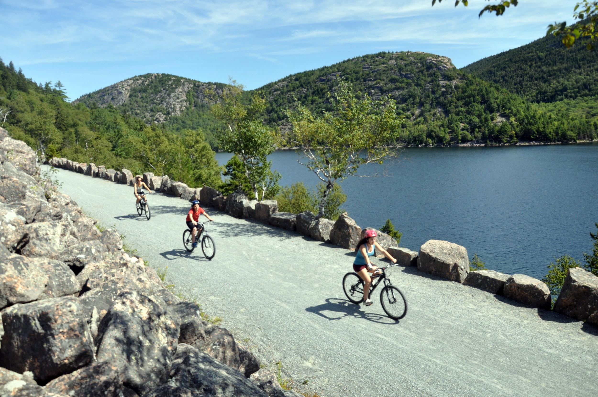 Biking the carriage roads. Image from Acadia Bike; acadiabike.com.