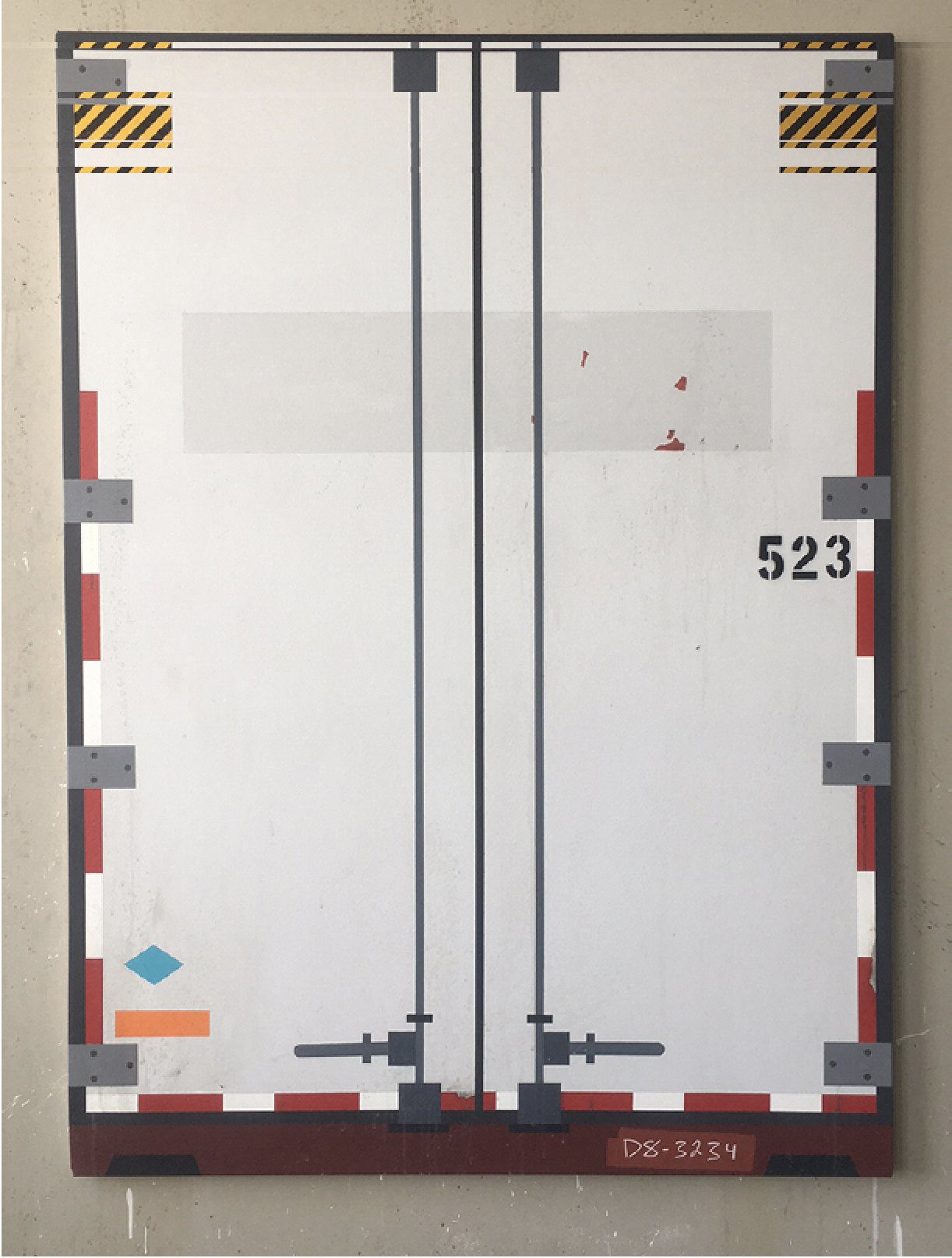 Big Rig (Laser), 2019  Acrylic, vinyl and pigmented iron on canvas, 66 x 48, $7000  THIS IS NUMBER 11 IN A SERIES OF 12!