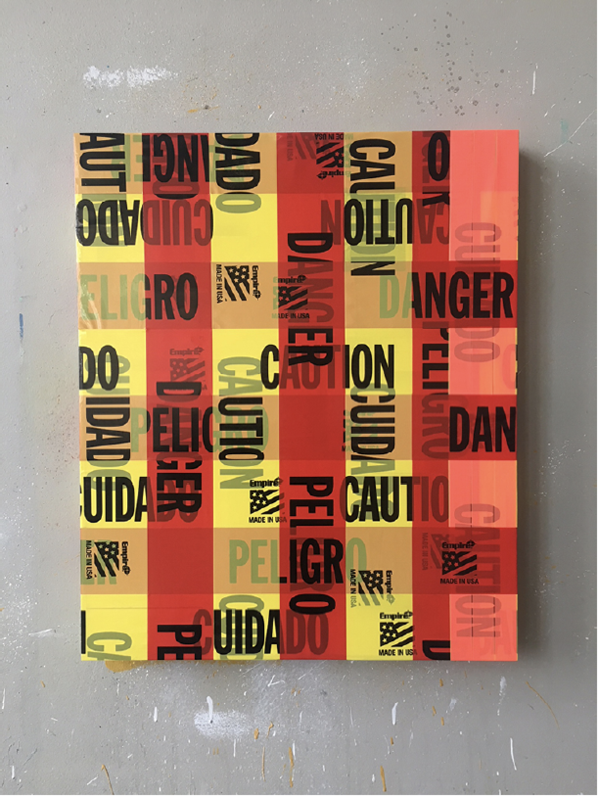 Caution/Danger #3, 2019  Mixed media collage on panel, 24 x 20, $2,000