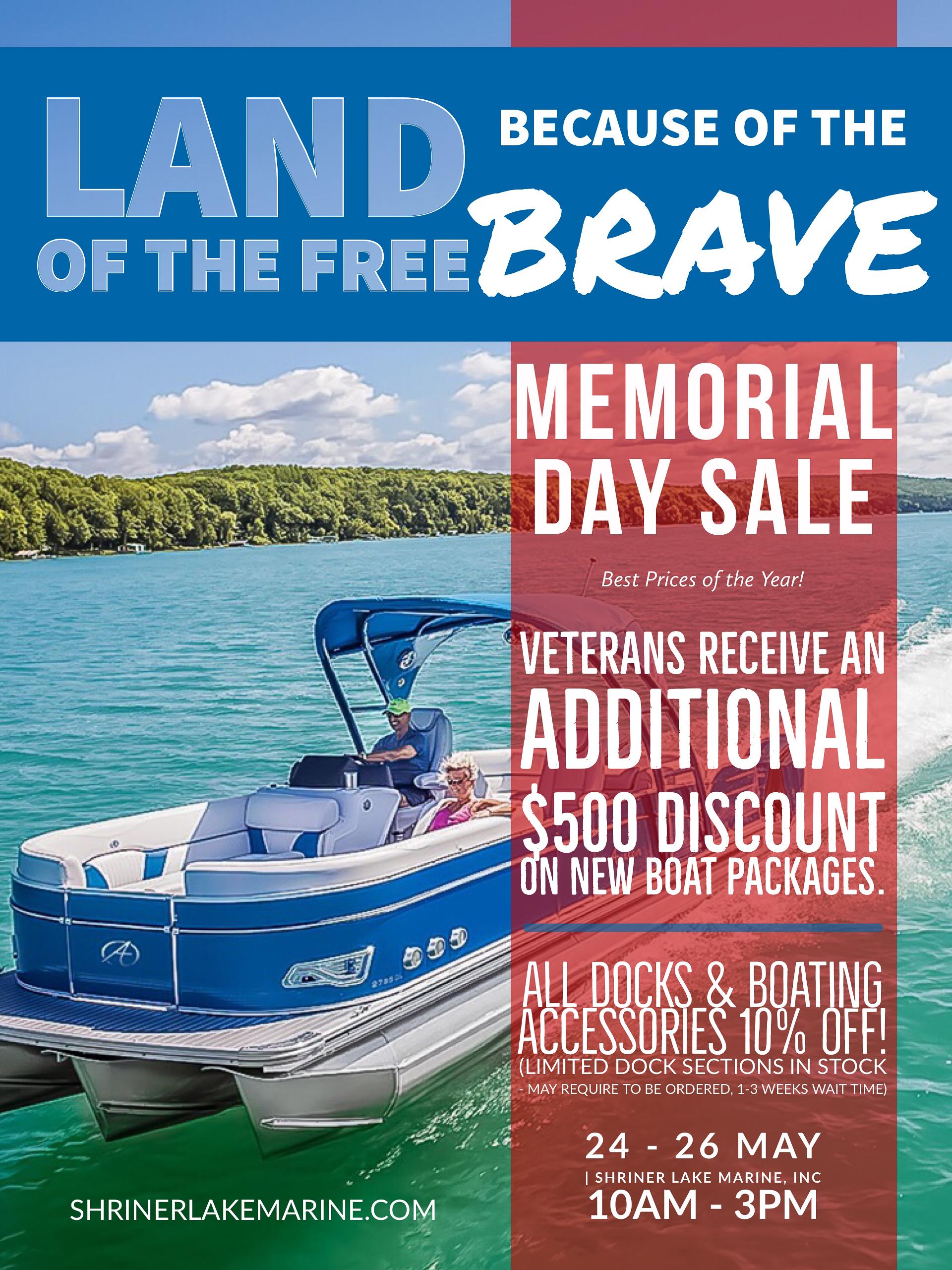 Shriner Lake Marine Memorial Day Boat Sale