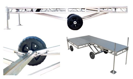 Roll-In-Docks   Our Roll-In-Docks are ideally suited for shallow water with firm bottom conditions. Easily adjustable from 2.5' to 5.5' and heights up to 8' with the optional Deep Water Kit. Wheel sections are 4'x16' and wheel-less extensions are available 4'x4', 4'x8' and 4'x16'. Optional Hinged Ramps come in sizes 4'x4' and 4'x8'. Using combinations of wheeled and wheel-less sections allow you to design the dock of your dreams! Each Section comes with 2 Post Collars.