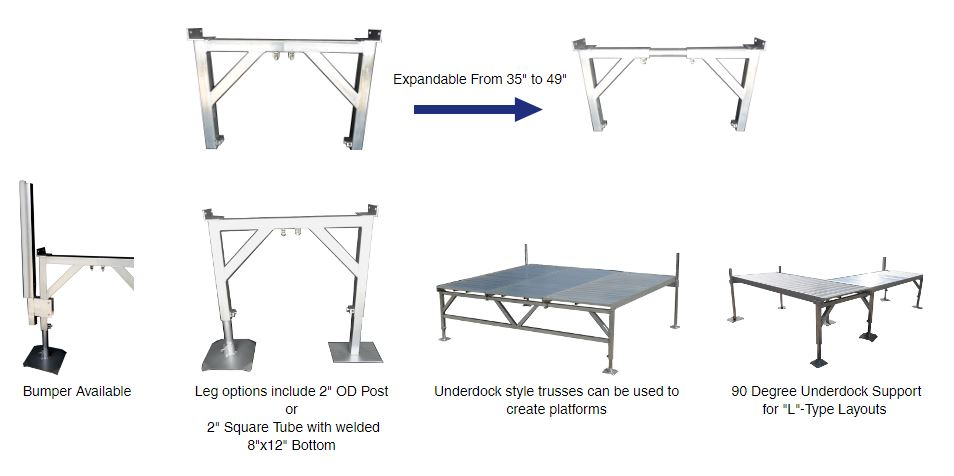 """Our Underdock Support is the most stable method available for supporting your dock. Built from heavy duty 2 3/8"""" square tubing with welded cross members, it will not twist or sway under heavy use. Designed with a low profile makes it any excellent companion to the Deluxe Vinyl Dock. Includes stainless steel and brass hardware for long life. Available in; Standard (Expands 35""""-49""""), 6' (71"""" Inside), 8' (95"""" Inside), 12' (142"""" Inside), and 16' (190"""" Inside) with 1 center support models."""