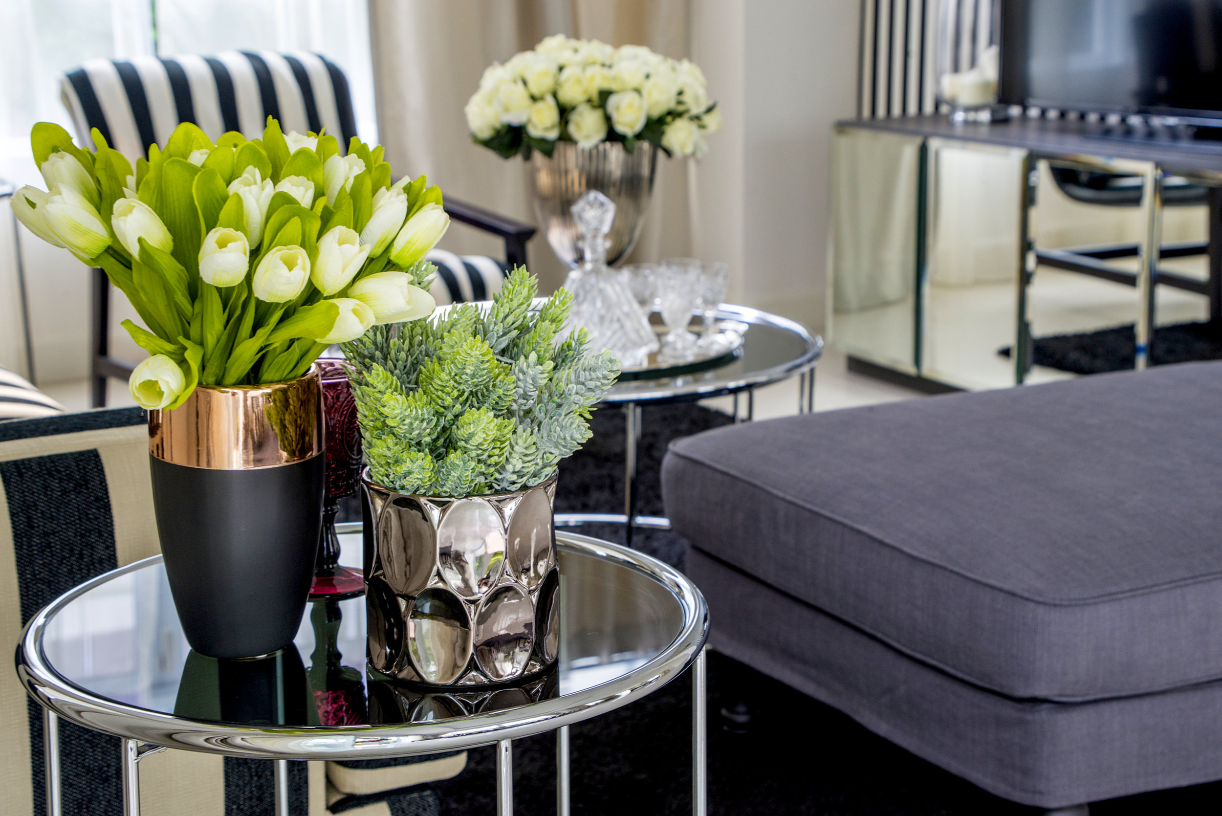 Botanicals, Vases, Candles, Pillows and Throws are all wonderful decor possibilities..