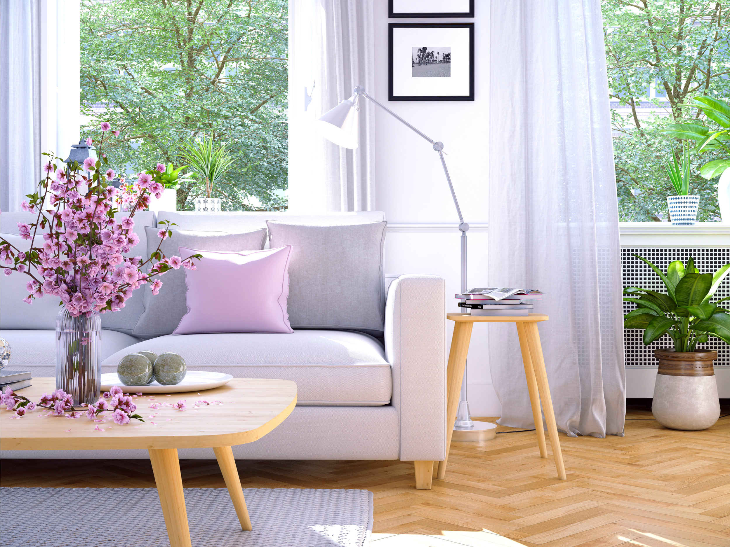 light and lovely summer decor - Pastels, Seasonal Blooms and Plants create a naturally bright and inviting space.