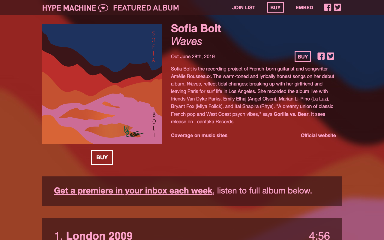 """Hype Machine - Featured Album: June 2019 - """"The warm-toned and lyrically honest songs on her debut album, Waves, reflect tidal changes: breaking up with her girlfriend and leaving Paris for surf life in Los Angeles."""