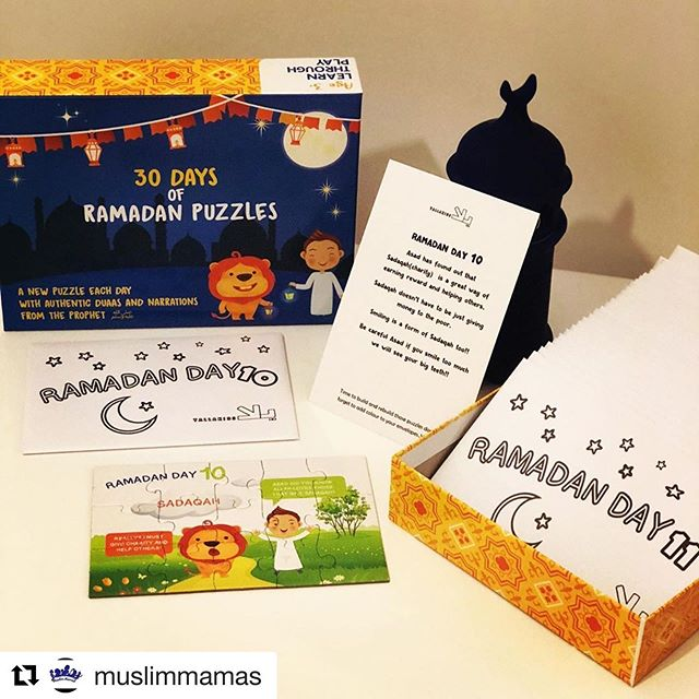 Lovely review! #Repost @muslimmamas with @get_repost ・・・ My children have been using this very colourful and interactive set of puzzles for Ramadan.  The set includes two characters Asad (the lion) and Ali (a boy). Together they go on an adventure in learning all about Ramadan. The adventure unfolds one puzzle at a time, for each day of Ramadan.  Each puzzle comes in an envelope (which the children can colour in) and an activity card. Each puzzle teaches a valuable lesson and consists of a duaa or an narration from the Prophet Muhammad (s). The puzzles are well made and with only 15 pieces it's a quick activity which generates discussion, fun and provides lots of interaction for the whole family.  My children look forward to opening their envelopes as they count down the days of Ramadan.  I would recommend this puzzle set for ages 4+  We will definitely be using ours again next Ramadan.  Get yours @yallakids while they have it on sale!