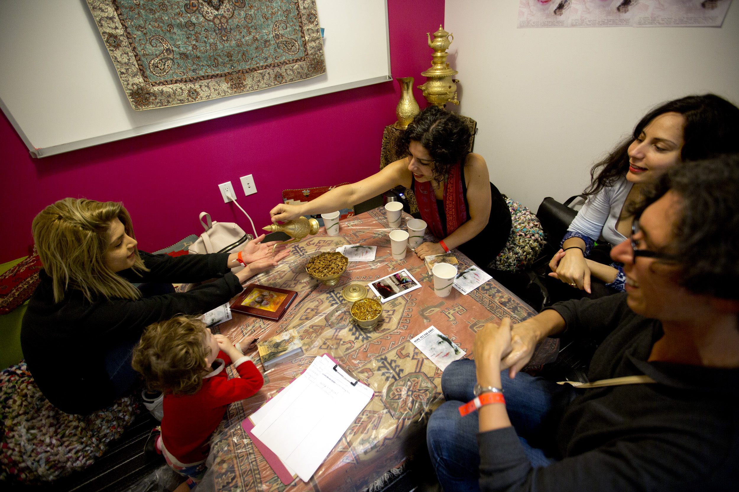 What if we valued cultural traditions that create social cohesion along with financial resources when we thought of a community's value? - Sabereh Kashi, Home Yet Far Away Persian Tea House at YBCA Public Square. Photo Tommy Lau.
