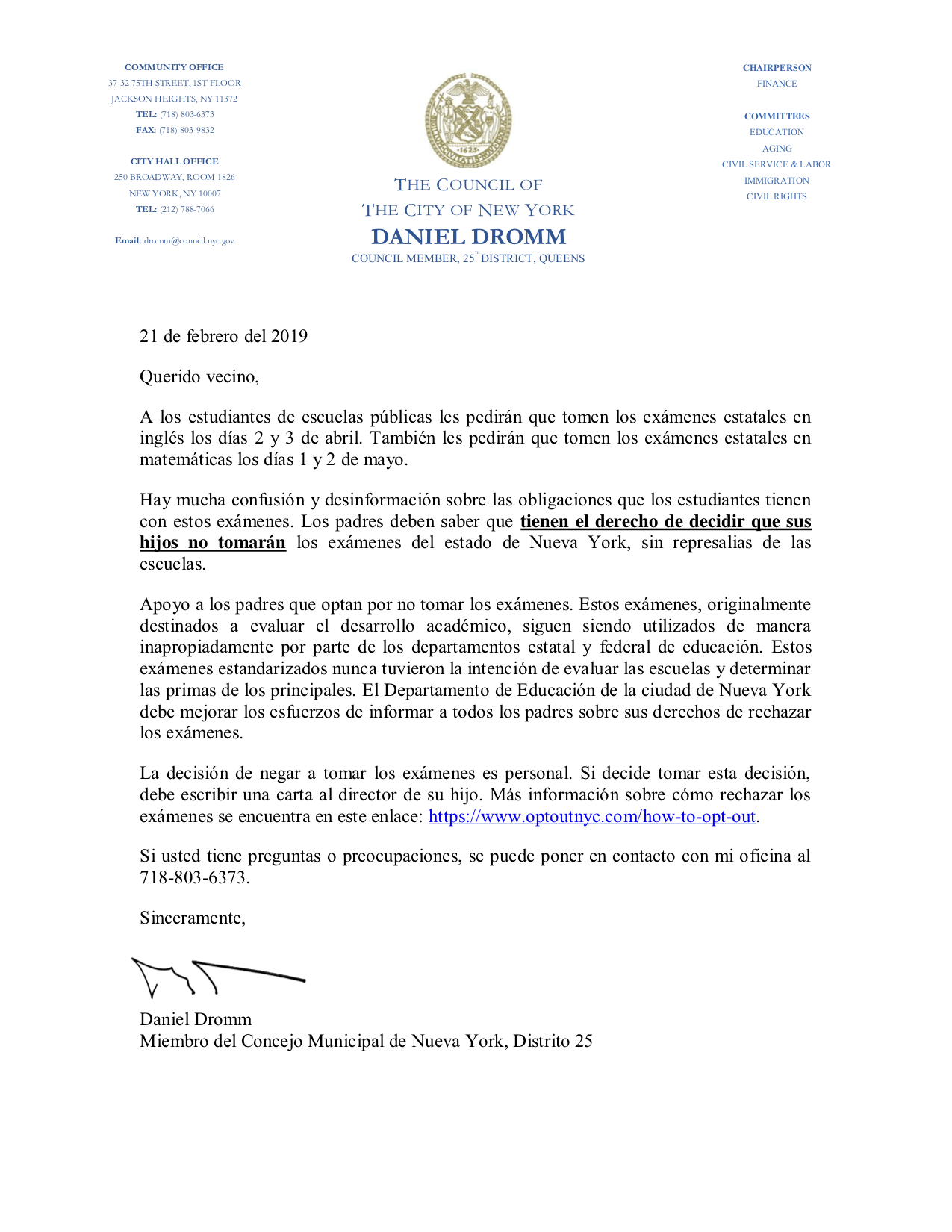 CM Dromm-Opt Out Letter SPANISH 2019.png