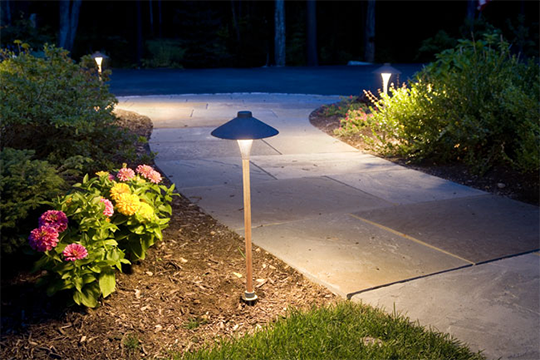 Path lighting - Also known as walkway lighting, these lights add beauty to your landscape while clearly defining sidewalks, driveways and paths. Not only beautiful they help you find your way in the dark.